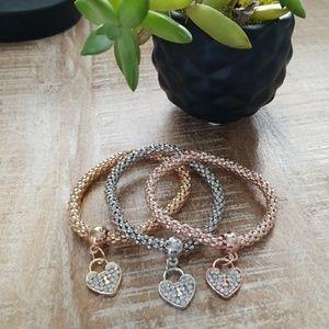 3 piece Stretch Bracelet Set 3 tone heart charm